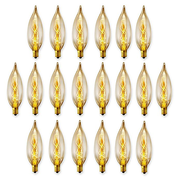 Cleveland Vintage Lighting Edison Flame Candelabra Bulbs: Globe Electric Vintage Edison 20-Pack 25-Watt CA10