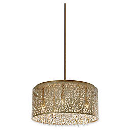Dainolite 8-Light Crystal Chandalier in Palladium Gold with Floral Pattern Metal Shade