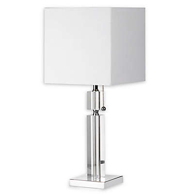 Dainolite Crystal Table Lamp in Polished Chrome with Square Linen Shade