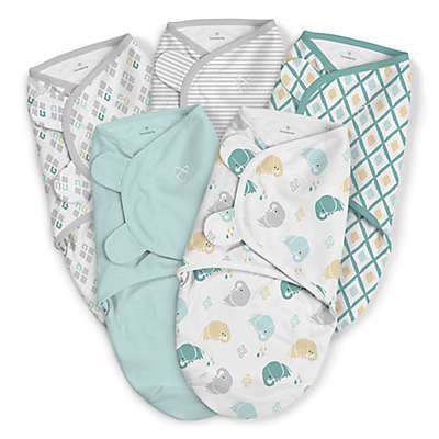 SwaddleMe® Original Small/Medium Elephant Cotton 5-Pack Swaddles in Teal/Grey