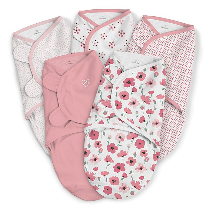 Alternate image 1 for SwaddleMe® Original Small/Medium Floral Cotton 5-Pack Swaddles in Pink
