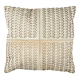 Safavieh Dash 22-Inch Square Cowhide Throw Pillow in White