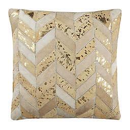 Safavieh Metallic Herringbone Cowhide Square Throw Pillow in Beige/Gold