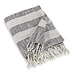 Woven Stripe Throw Blanket in Grey