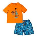 Kiko & Max Size 6-9M Boats Rashguard Set in Orange