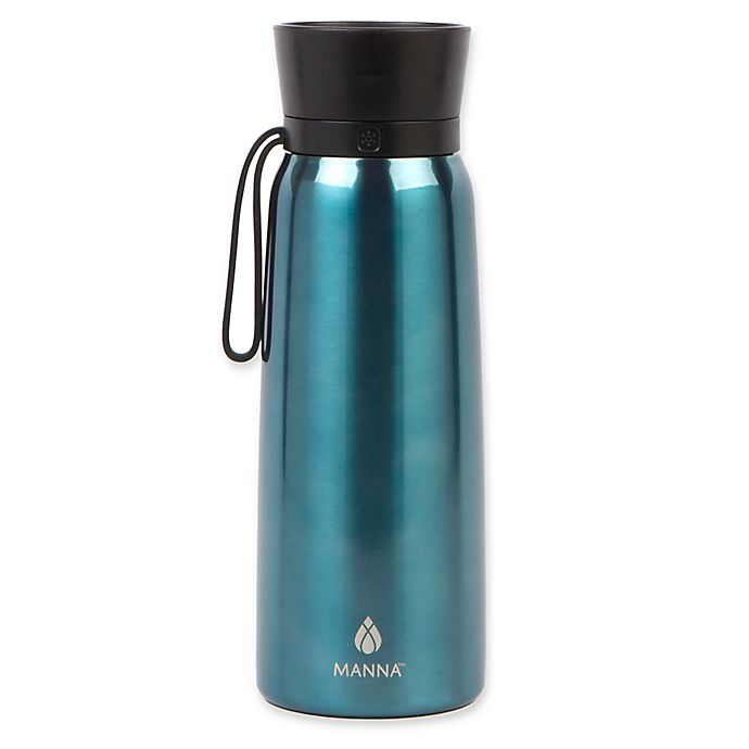 Alternate image 1 for Manna™ Helix 24 oz. Double Wall Stainless Steel Water Bottle in Aqua