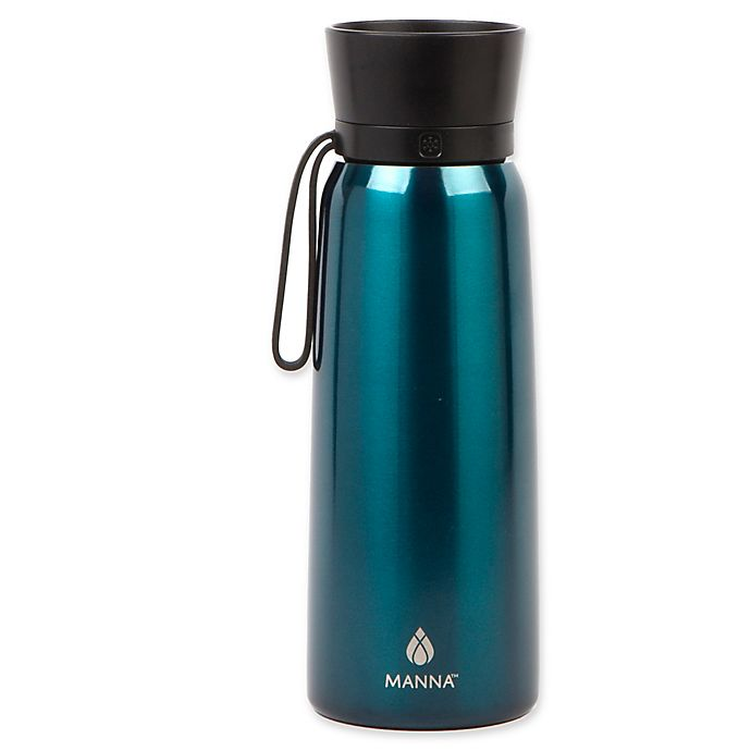 Alternate image 1 for Manna™ Helix 24 oz. Double Wall Stainless Steel Water Bottle in Ocean Blue