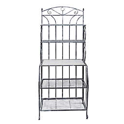 Old Dutch International Saddlebrook Bakers Rack in Antique Pewter