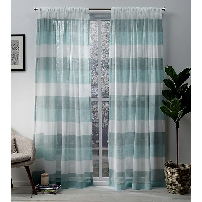Alternate image 1 for Exclusive Home Bern 108-Inch Rod Pocket Sheer Window Curtain Panel Pair in Teal