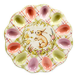 Certified International Bunny Patch by Susan Winget 3-D Egg Plate