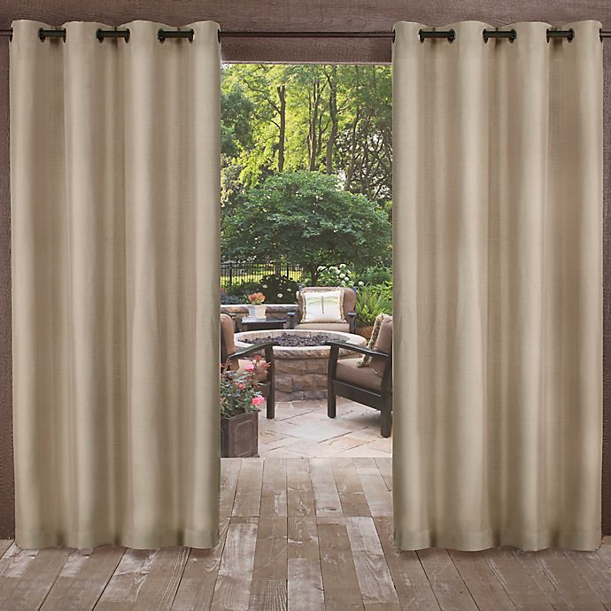 Alternate image 1 for Biscayne 84-Inch Grommet Top Indoor/Outdoor Window Curtain Panel Pair in Sand