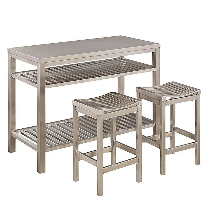 Home Styles 3-Piece Stainless Steel Kitchen Island Set | Bed ...