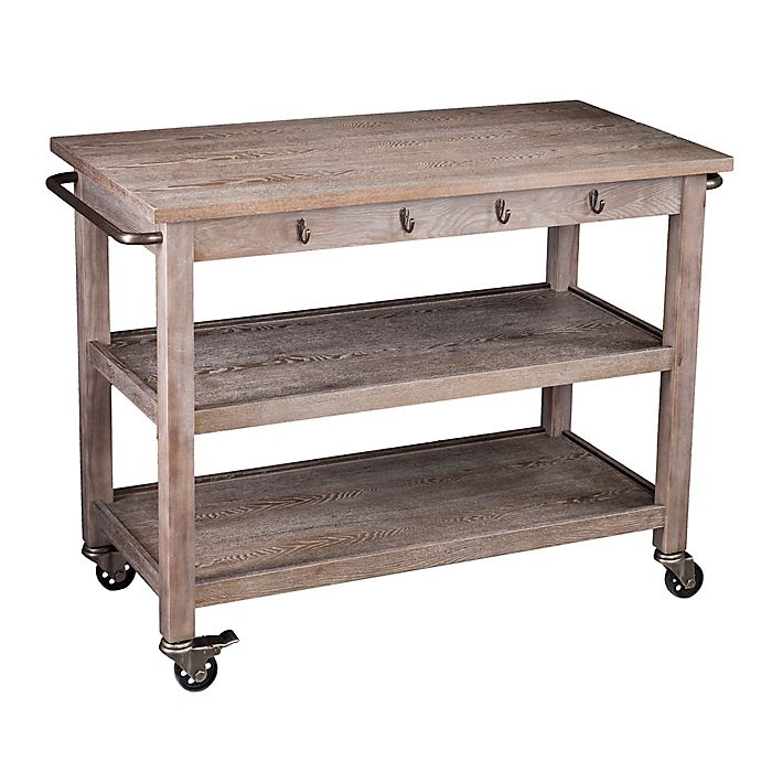 Southern Enterprises Dontos Industrial Kitchen Cart in Antique Bronze