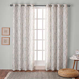 Branches 2-Pack 108-Inch Grommet Top Window Curtain in Sea Foam