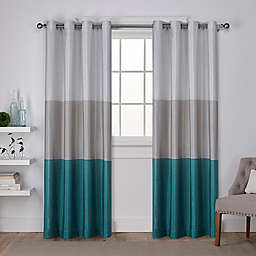 Chateau Riva 84-Inch Grommet Top Window Curtain Panels  in Teal (Set of 2)
