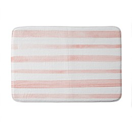 Deny Designs Kelly Haines Watercolor Stripes Memory Foam Bath Mat in Pink