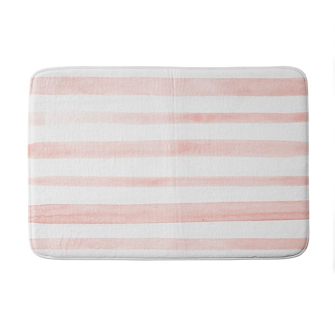 Alternate image 1 for Deny Designs Kelly Haines Watercolor Stripes Memory Foam Bath Mat in Pink