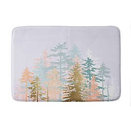 "Deny Designs 17"" x 24"" Iveta Abolina Blush Forest Memory Foam Bath Mat in Green"
