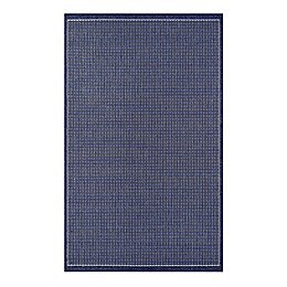 Couristan Recife Saddlestitch Indoor/Outdoor Rug in Indigo/Ivory
