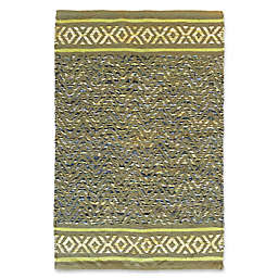 Jute and Cotton Chevron 3'4 x 5' Area Rug in Green