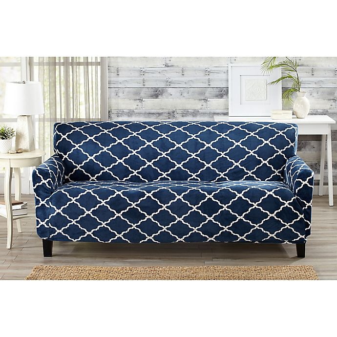Alternate image 1 for Great Bay Home Magnolia Velvet Plush Strapless Sofa Slipcover in Navy