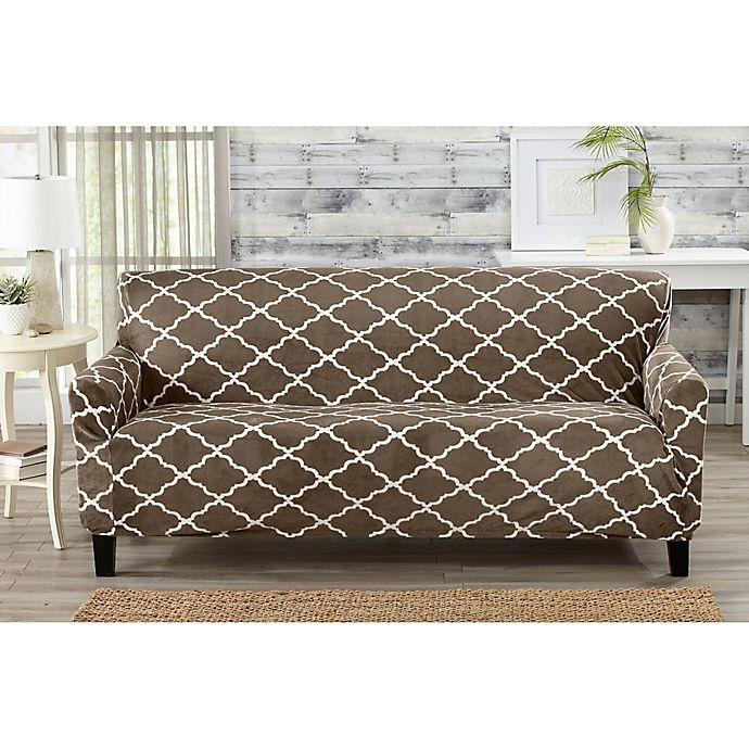 Alternate image 1 for Great Bay Home Magnolia Velvet Plush Strapless Sofa Slipcover in Brown
