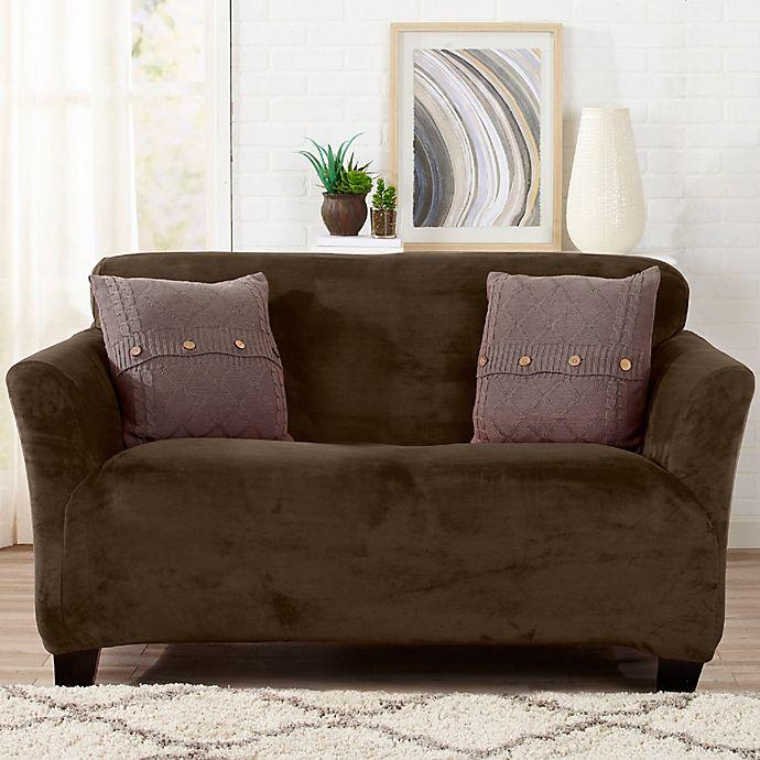 Alternate image 1 for Sofa Saver Velvet Strapless Loveseat Slipcover in Brown