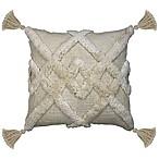 Duplex Tufted Square Indoor Throw Pillow in Cream