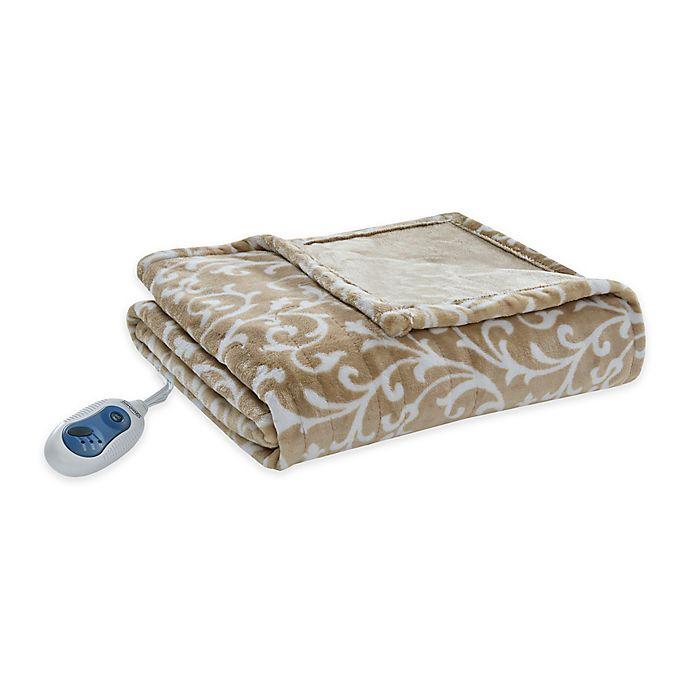 Alternate image 1 for Beautyrest Adelynn Heated Oversized Throw Blanket in Tan