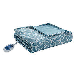 Beautyrest Adelynn Heated Oversized Throw Blanket in Blue