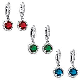 Palm Beach Jewelry Silvertone Round Simulated Birthstone Huggie-Hoop Halo Drop Earrings