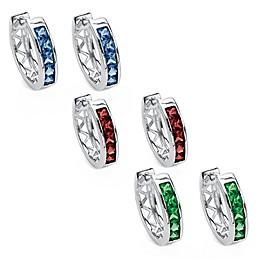 Palm Beach Jewelry Sterling Silver Princess-Cut Simulated Birthstone Huggie Hoop Earrings