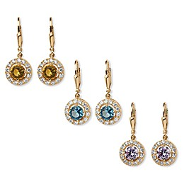 Palm Beach Jewelry 18K Gold-Plated Round Simulated Birthstone Halo Drop Earrings