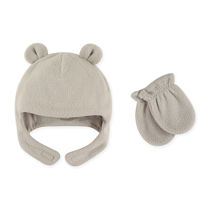 Alternate image 1 for Luvable Friends® Fleece Hat and Mitten Set in Grey