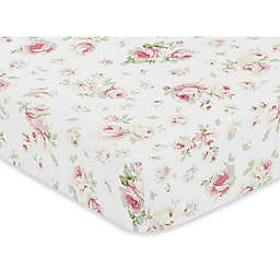 Sweet Jojo Designs Riley's Roses Fitted Crib Sheet in Pink/White