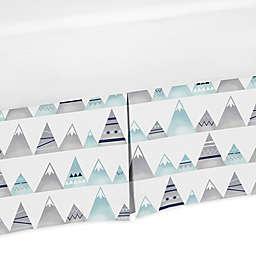 Sweet Jojo Designs Mountains Crib Skirt in Grey/Aqua