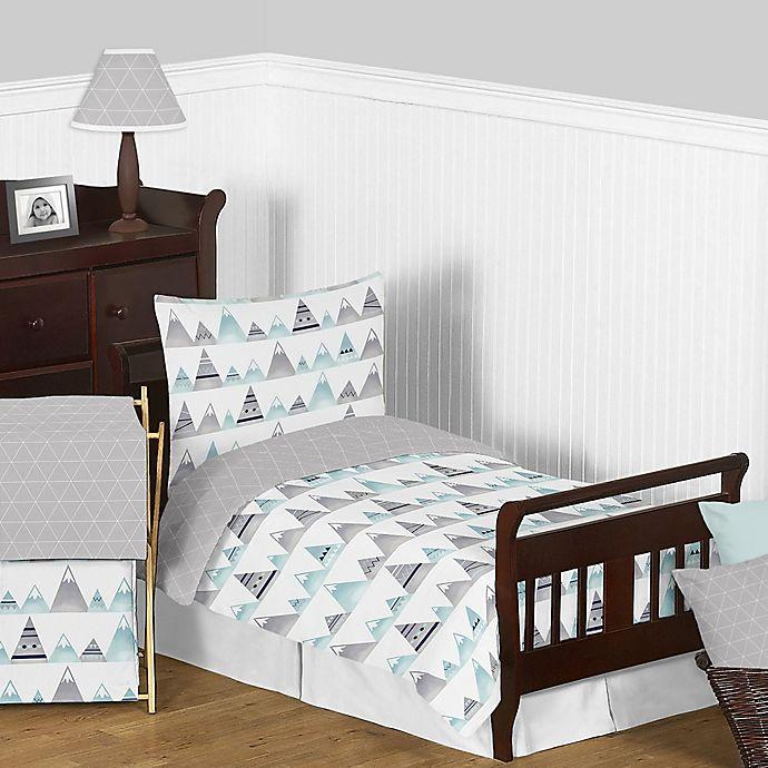 Alternate image 1 for Sweet Jojo Designs Mountains 5-Piece Toddler Bedding Set Grey/Aqua