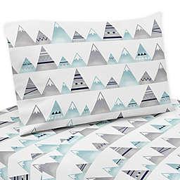 Sweet Jojo Designs Mountains Sheet Set in Grey/Aqua