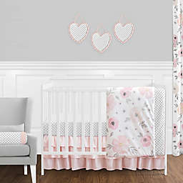 Sweet Jojo Designs® Watercolor Floral Crib Bedding Collection in Pink/Grey