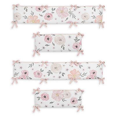 Sweet Jojo Designs® Watercolor Floral 4-Piece Crib Bumper Set in Pink/Grey