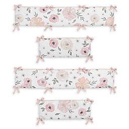 Sweet Jojo Designs Watercolor Floral 4-Piece Crib Bumper Set in Pink/Grey