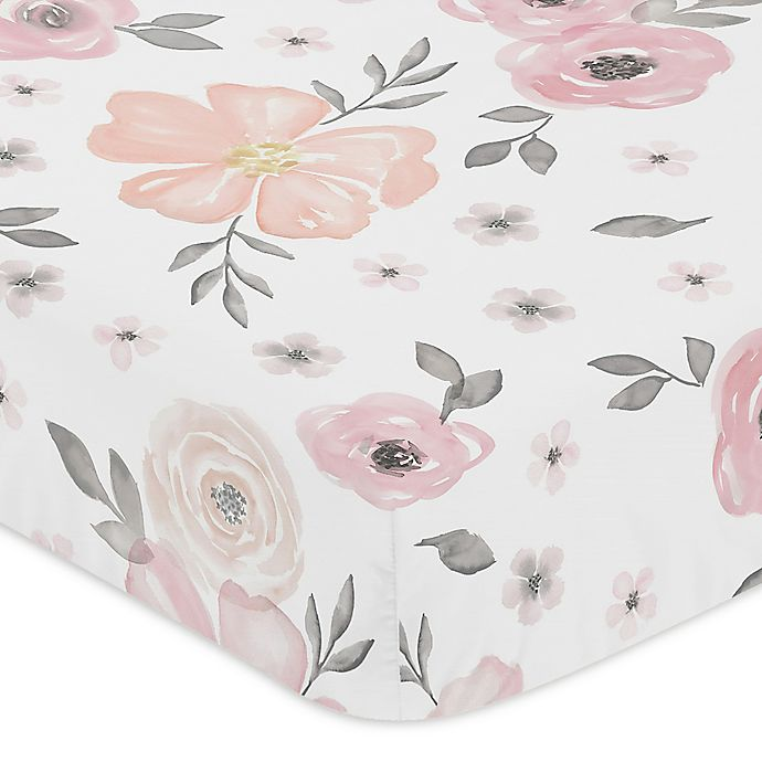 Alternate image 1 for Sweet Jojo Designs® Watercolor Floral Fitted Crib Sheet in Pink/Grey