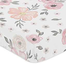 Sweet Jojo Designs® Watercolor Floral Fitted Crib Sheet in Pink/Grey