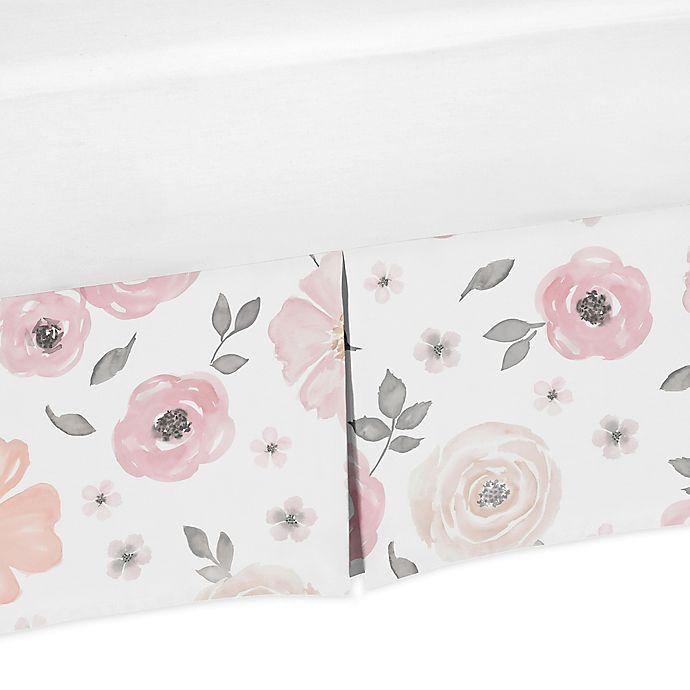 Alternate image 1 for Sweet Jojo Designs® Watercolor Floral Crib Skirt in Pink/Grey