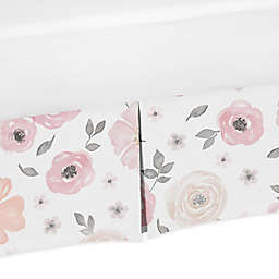 Sweet Jojo Designs® Watercolor Floral Crib Skirt in Pink/Grey