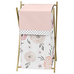 Sweet Jojo Designs Watercolor Floral Folding Laundry Hamper in Pink/Grey