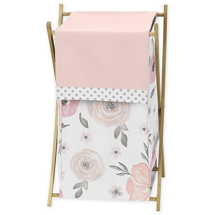 Alternate image 1 for Sweet Jojo Designs Watercolor Floral Folding Laundry Hamper in Pink/Grey
