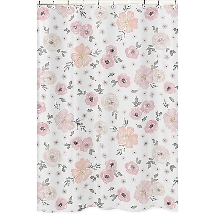 Sweet jojo designs watercolor floral shower curtain in pinkgrey floral shower curtain in pinkgrey view a larger version of this product image mightylinksfo