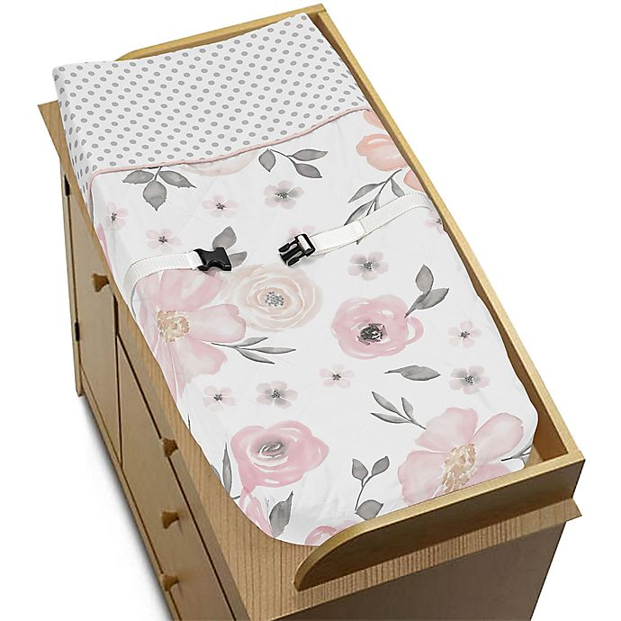 Alternate image 1 for Sweet Jojo Designs® Watercolor Floral Changing Pad Cover in Pink/Grey