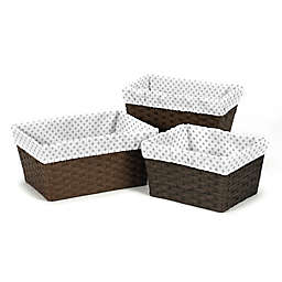 Sweet Jojo Designs Watercolor Floral Polka Dot Basket Liners in Grey/White